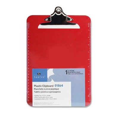Sparco Transparent Plastic Clipboard, 9 x 12-1/2 Inches, Red (SPR01864) 12 PACK