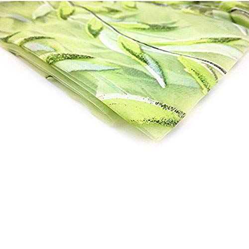 Blovess Yueton 1 Piece 78 inch x 39 inch Beautiful Salix Leaf Pattern Sheer Window Elegance Willow Leaf Curtains Decorative Drape Window Panels (Green)