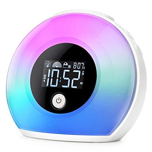 LIPETLI Heller Wecker, 5 Farbvariable Touch-Bedienelemente, Sonnenaufgangs- Und Sonnenuntergangssimulator, 3 Polyphone Alarme, Drahtloser Audio-Bluetooth-Lautsprecher, Als Geschenk Geeignet