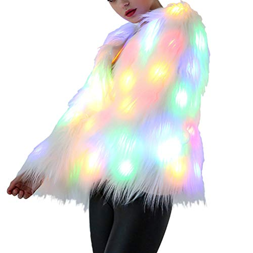 FENICAL Women Halloween Costume LED Fur Coat Stage Costumes Outwear Nightclub Halloween Christmas Supplies (White) Size XXXL