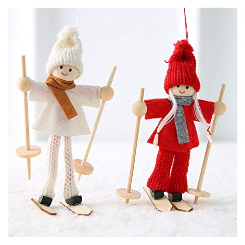 MJS New Year Angel Santa Claus Hanging Dolls Christmas Decorations for Home Decor Christmas Tree Ornaments Natal Home Decor (Color : 2 pcs ski long)