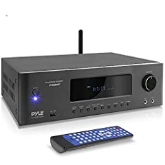 1000W PEAK POWER The Pyle 5 2 channel hi-fi home theater receiver is perfect for your home entertainment system Gives you 1000W peak power to be used for speakers and subwoofers w/ 4-16 ohms impedance lets you enjoy high quality amplified audio BLUET...
