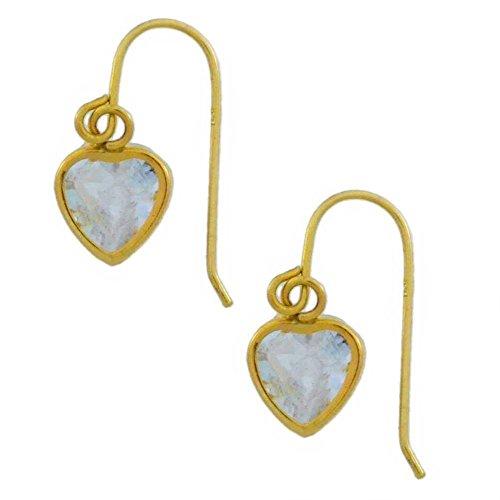 14kt oro amarillo auténtica Aguamarina Corazón Bisel Pendientes largos