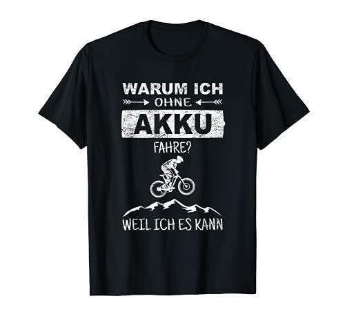 Mountainbike MTB Akku Spruch Geschenk Radfahren Berge Retro T-Shirt