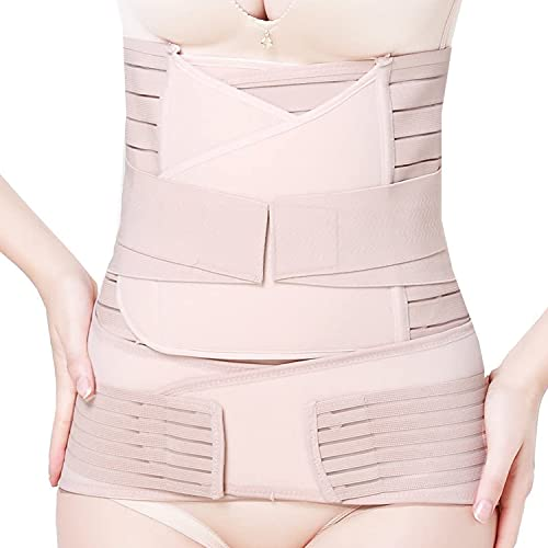 3 in 1 Postpartale Bauch Unterstützung, Bauchband Nach Geburt, Postpartum Erholung Wrap Gürtel für postnatale Recovery Bauch/Taille/Gurt (Beige, L)