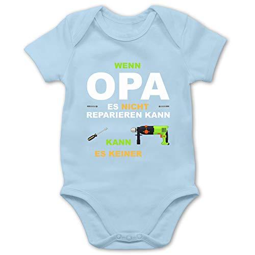 Shirtracer Strampler Motive - Wenn Opa es Nicht reparieren kann kann es keiner - 3/6 Monate - Babyblau - lustige Strampler - BZ10 - Baby Body Kurzarm für Jungen und Mädchen