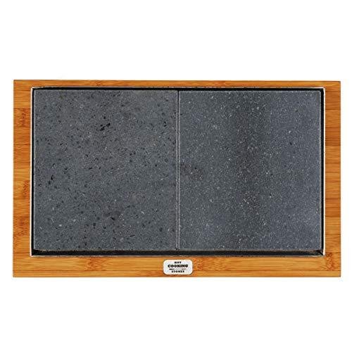Placa de piedra volcánica Basic 20 x 34 rectangular apta para cocinar directamente a la mesa