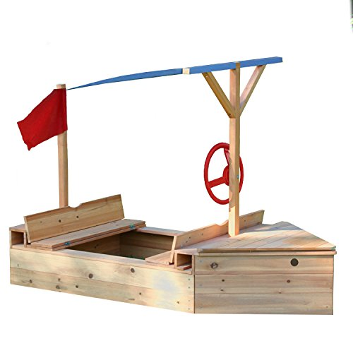 Garden Games Sand Sailer Wooden Boat Sandpit with Canopy Shade, Pirate Ship Sandbox with Toy Storage