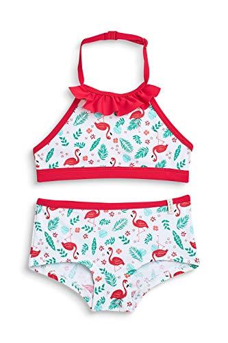 ESPRIT Mädchen Flamingo Beach MG neckh + Hotpant Badebekleidungsset, Weiß (White 100), 92 (Herstellergröße: 92/98)