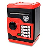 Qwifyu Kids Piggy Bank, Money Bank with Electronic Lock Auto Scroll Paper Money & Coin, Best Toy Gifts for Children Boys Girls (Black Red)