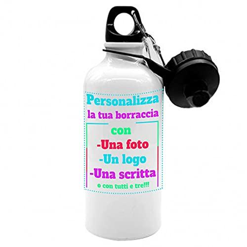 borraccia termica nome personale Borraccia in Alluminio Personalizzabile - Capacità 500 ml con Moschettone e Chiusura Ermetica 750 ml Termica
