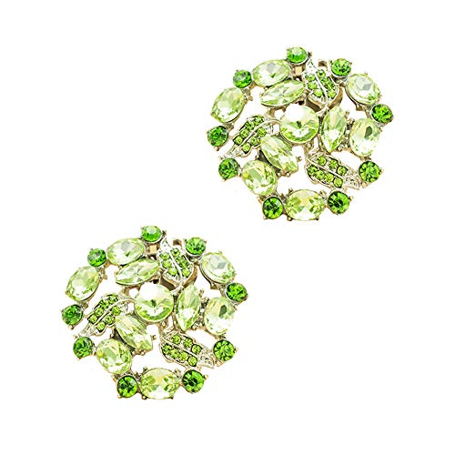 Casualfashion Decorative Crystal Rhinestone Floral Shoe Clips for Wedding Party Shoes Decor Accessories (Light Green)