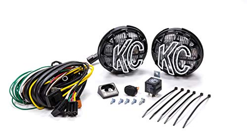 'KC HiLiTES 452 Apollo Pro 5'' 55w Fog Light with Integrated Stone Guard - Pair Pack System', white light output