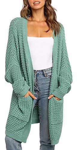 BTFBM Women Long Sleeve Open Front Plain Knit Cardigan Fashion Color Block Striped Slouchy Loose Pockets Sweater Outwear (Green, Large)
