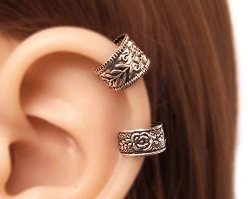 Set of 2 Sterling Silver Handmade Small Wide Band Non Pierced Ear Cuff, Ear Wrap, Cartilage Earrings for women