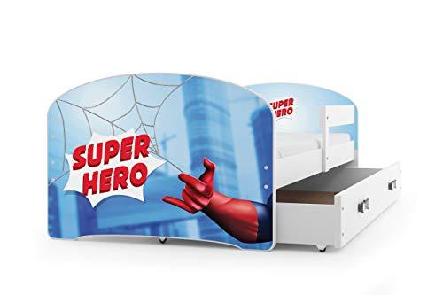 Kinderbett LUKI, Farbe: weiβ 160x80cm, mit Matratze, Schublade und Lattenrost (Spiderman)