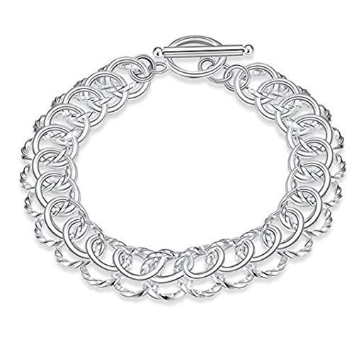 Heall Joyería 925 + Bolsa del Terciopelo Accesorio de la joyería joyería Nueva de la Manera clásica de Nueva sólido Hebilla de la Plata Pulsera Hombres de Las Mujeres' s