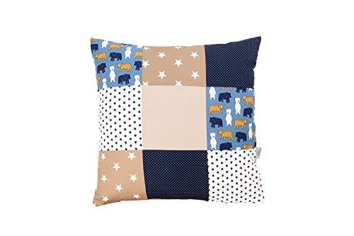 Fodera per cuscino patchwork ULLENBOOM ® sabbia, orso (60x60, cotone, ideale come cuscino decorativo nella cameretta per bambini)