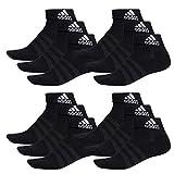 adidas - 12 paia di calzini da sneaker/quarter performance unisex nero 40/42 eu