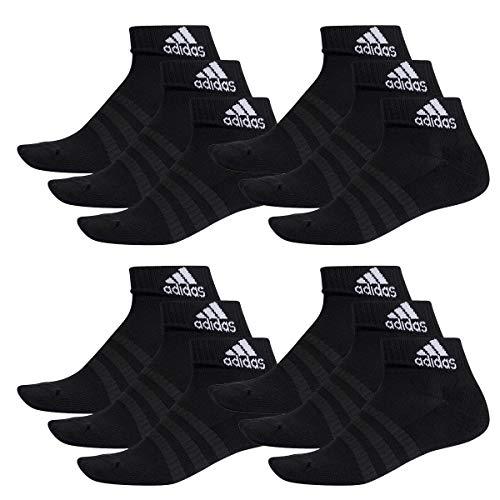 adidas 12 Paar Performance Sneaker/Quarter Socken Unisex Kurzsocke, Farbe:Black, Socken & Strümpfe:46-48