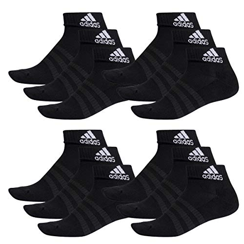 adidas 12 Paar Performance Sneaker/Quarter Socken Unisex Kurzsocke, Farbe:Black, Socken und Strümpfe:37-39