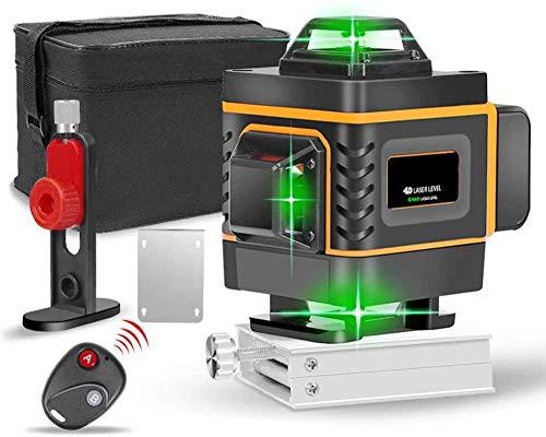 YAYY 16 Linien 4D Laser Level Self Leveling 360 horizontale und vertikale grüne Lichtstrahl Laser Level bringt den Wandrahmen(Upgrade)