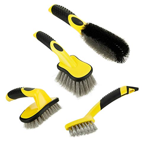 Fancytimes 4 Packs Car Wheel Cleaning Brush Kit for Auto, Vehicle, Engine, Motorcycle - Including Rim Brush + Curved Tire Brush + Detail Brush + Short Handle Tyre Soft Brush