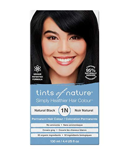 Tints of Nature 1N Natural Black, Vegan Friendly Permanent Hair Dye, 95% Natural, Free from Ammonia, Parabens, and Propylene Glycol, Single