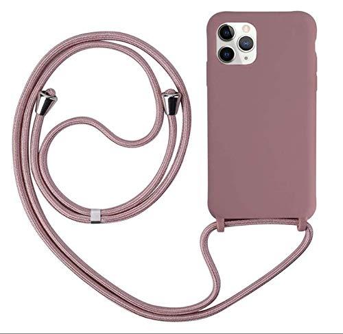 MEIVS Funda Compatible con iPhone 11 Pro MAX, Ajustable Collar Correa de Cuello CordónCarcasa de Silicona-Loto Color