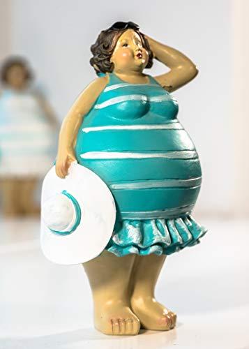 Wohnideen Kupke Deko Badefigur Berta 14x11cm Mini mollig stehend in blau weißem Strandlook Retro Stil 50er 60er Jahre