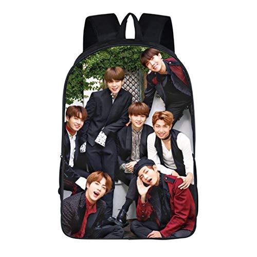 Augyue Kpop Bangtan Jungen BTS Rucksack SUGA Jimin Jung KOOK Schulranzen Daypack Bookbag Schultertasche Schwarz 5 Large