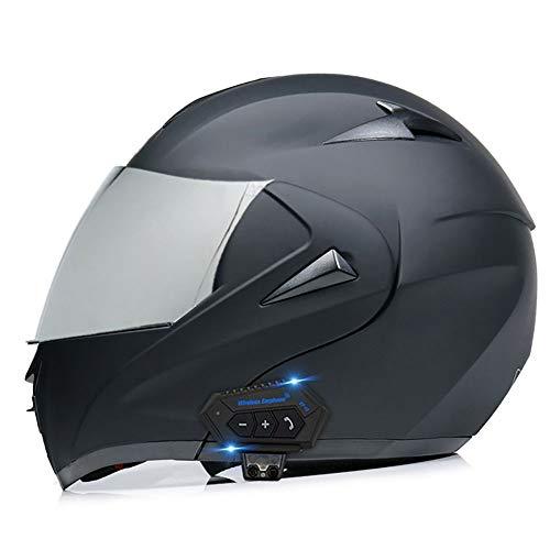 BDTOT Casco para Moto con Bluetooth Cascos Modular Flip Up Motocicleta Dot/ECER 22-05 Aprobado Doble Visera HD Reducción de Ruido con Altavoz Incorporado para Adultos 55-62cm