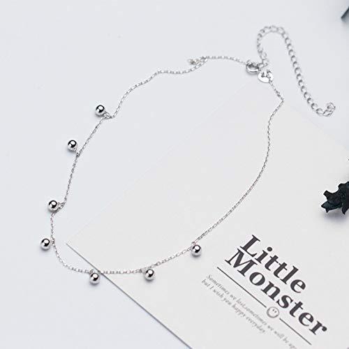 XLHJK Kettingen Hanger 925 Sterling zilveren sieraden 4 Mm gepolijst Rondjes Kralen Korte Choker Ketting Hanger