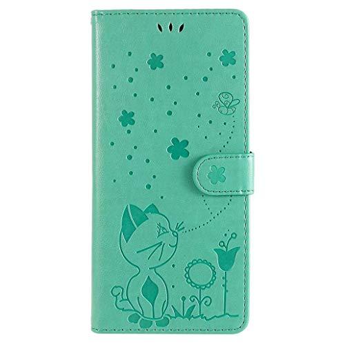 GOGME Hülle für Xiaomi Mi 11 Lite, Elegant Geprägt Kätzchen Muster Design Leder Brieftasche Flip Handyhülle, Kartenfach & Magnet Kartenfach Schutzhülle für Xiaomi Mi 11 Lite, Grün