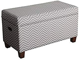 HomePop Youth Upholstered Storage Bench with Hinged Lid,  Grey with White Chevron