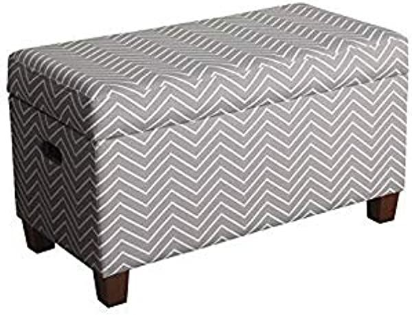 HomePop Youth Upholstered Storage Bench With Hinged Lid Grey With White Chevron
