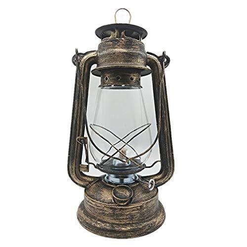 GCMJ Hurricane Lantern for Indoor Use Outdoor Tent Knob Dimmer Kerosene Lantern Lightweight Portable 21st Century Antique Lamps (Color : Bronze)