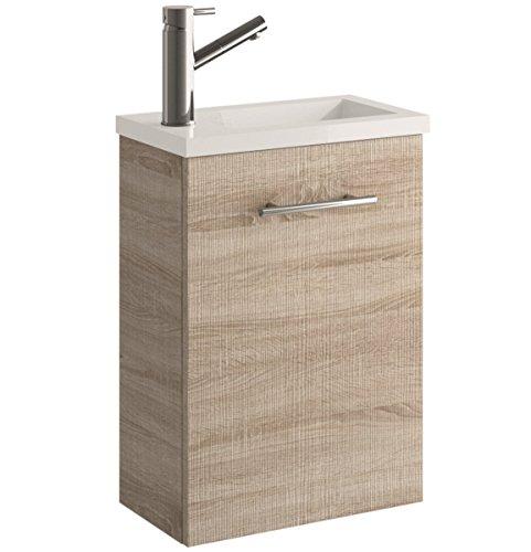 Cygnus Bath Mini Mueble lavamanos de baño, suspendido, con 1 Puerta de Cierre amortiguado, Roble Claro, 40.0x22.0x48.0 cm