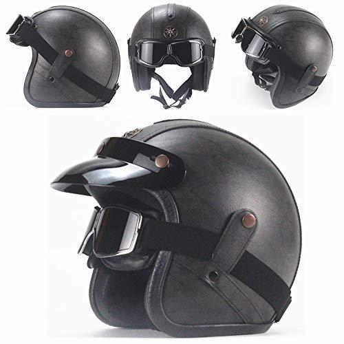 gaeruite Cuero de la PU del Casco de la Motocicleta de la Vendimia Casco Unisex de la Bici del Interruptor de la Motocicleta DE 3//4 Cascos de Harley