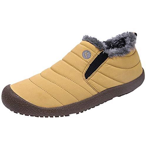 YWLINK Herren Warm Bequem Flache Schuhe PlüSch Futter Wasserdicht Baumwollschuhe Schneestiefel Couple Booties PlüSchschuhe(40.5 EU,Herren Gelb)
