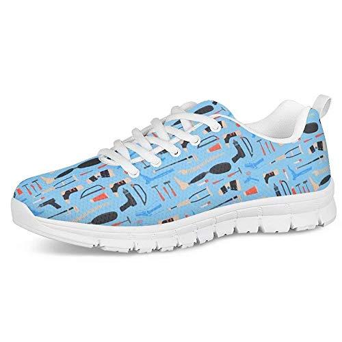 POLERO Herren Damen Laufschuhe Atmungsaktiv Turnschuhe Schnürer Sportschuhe Nurse Sneaker mit Verschiedene Werkzeug Print wie Säge Bohrmaschine Prothese Krücken 36 EU Blau