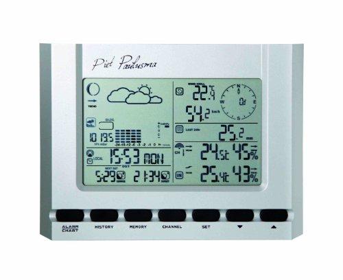 Cresta PWS700 Piet Paulusma Digitale Kabellose Wetterstation, Wettervorhersage, Luftdruck, Sonnenstand und Mondphase, Luftfeuchtigkeit, Windgeschwindigkeit und Richtung, Regenwahrscheinlichkeit silber