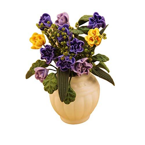 Momangel Miniatur-Blumentopf im Maßstab 1/12, bunt, Mini-Yulan, Keramik, Handarbeit, Mini-Haus-Accessoires, Spielzeug, Geschenk violett