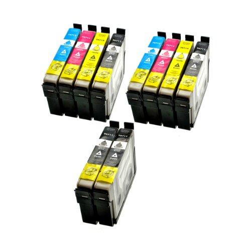 10 Stück XL Tintenpatronen kompatibel zu Epson (4x schwarz T711, 2x cyan T712, 2x magenta T713, 2x gelb T714)