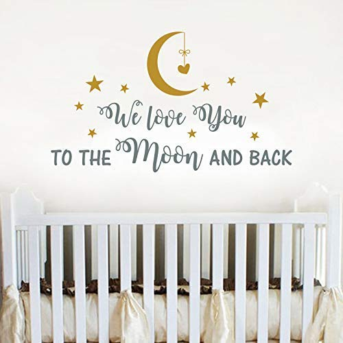 Amazon Com We Love You To The Moon And Back Wall Decal Nursery Quote Decal Moon And Stars Vinyl Sticker Nursery Wall Decor Quotes Baby Boy Room Wall Decals Vs34 Handmade
