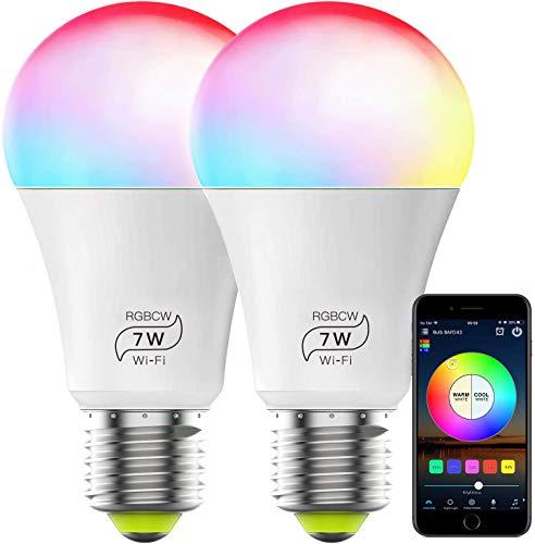 ZWOOS Smart Wi-Fi Lampen Kompatibel mit Alexa, E27 LED Glühbirnen 7W RGBCW Intelligente Glühbirne funktionieren mit Google Home, Synchronisierung mit Musik, gesteuert von APP, 2er-Pack