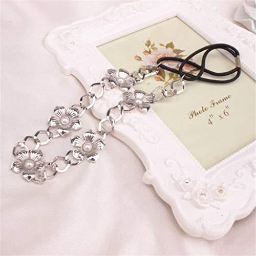 Brinote - Fascia elastica per capelli con fiore e perle, accessorio per capelli per donne e ragazze (argento)
