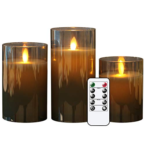 DRomance Glass Moving Wick Flameless Candles with 10-Key Remote Timer, Set of 3 Battery Operated LED Flickering Pillar Candles Real Wax Warm Light Halloween Christmas Decor(Gray, 3 x 4, 5, 6 Inches)