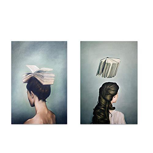 JRLDMD Libro e Donna su Tela Pittura Moderna Creativa Arte della Parete Carattere Astratto Stampa Poster casa Soggiorno Stampe d'Arte Decorativa 40x50cmx2 Senza Cornice