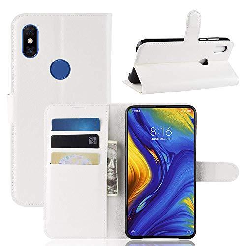 Lapinette Hülle Kompatibel mit Xiaomi Mi Mix 3 - Schutzhülle Klappbar Stoßfeste Folio - Lederhülle Xiaomi Mi Mix 3 - Wallet Kartenfächer Standfunktion Magnet Weiß